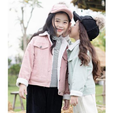 ocsco 童装外套秋冬新款女童短款上衣灯芯绒开衫中大童女孩外套