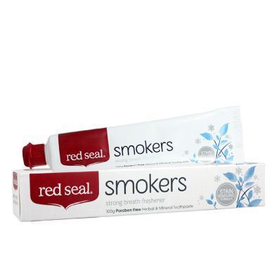 【支持購物卡】新西蘭RED SEAL/紅印煙民牙膏雙重薄荷 去煙漬去黃去口臭美白100g 香港直郵