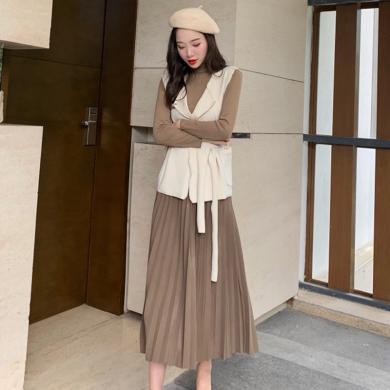 meyou 秋季新款氣質時尚馬甲套裝裙女半高領打底衫百褶半身裙三件套