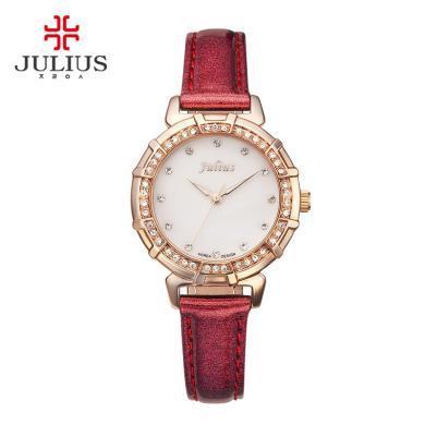 julius手表正品复古镶钻手表时尚女生腕表潮流学生红色女表JA-757