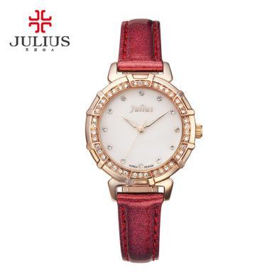julius手表正品復古鑲鉆手表時尚女生腕表潮流學生紅色女表JA-757