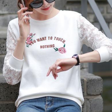 时尚解放秋t恤女韩国新款宽松印花圆领大码显瘦卫衣纯棉羊毛绒长袖打底衫S4016