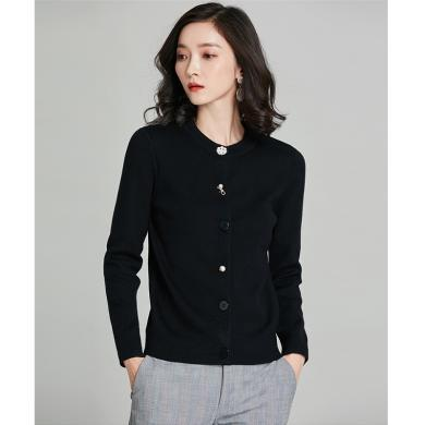 meyou 穿搭女装秋季新款韩版时尚单排扣针织开衫修身长袖毛衣外套潮