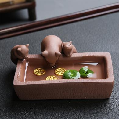 陶瓷小豬喝水茶寵多肉花盆-富甲一方C-78-11-4