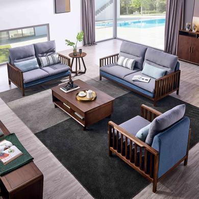 HJMM新中式實木沙發現代簡約客廳布藝3人位沙發組合沙發單雙人家具