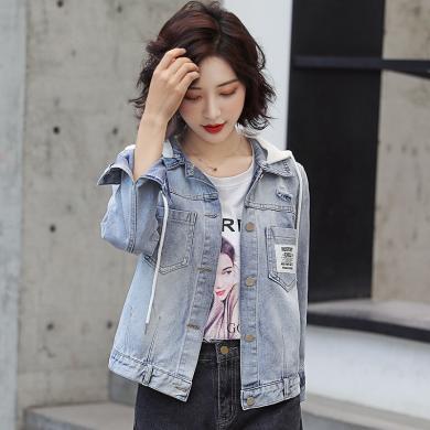 搭歌2019秋季新款韓版修身bf學院風連帽短款牛仔上衣外套女B4268