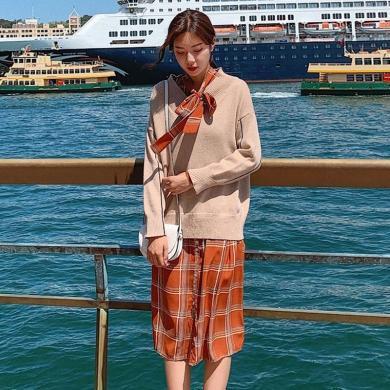 meyou 毛衣套装裙秋季新款时尚洋气系带领连衣裙两件套女