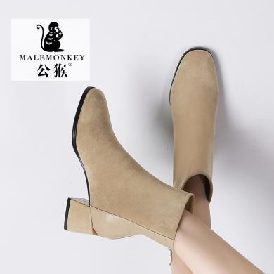 公猴短靴女冬季新款中跟短筒英伦马丁靴粗跟时装百搭中筒单靴