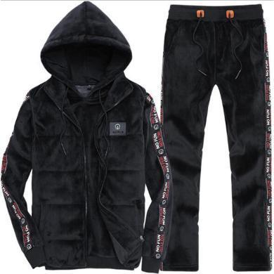 戰地吉圃 冬季金絲絨三件套運動套裝男士秋加絨加厚休閑衛衣套裝運動服青年