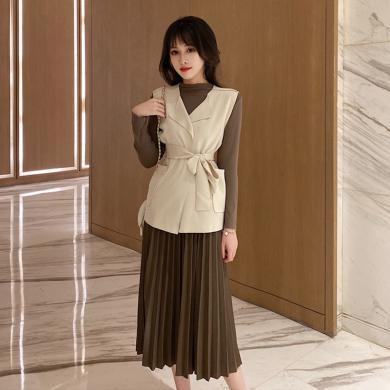meyou 時尚馬甲套裝女秋季新款長袖打底衫百褶半身裙三件套