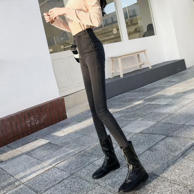 搭歌2019秋新款港风牛仔裤侧边拉链高腰牛仔裤弹力小脚裤长裤女B1870