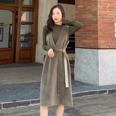 meyou 针织打底衫套装裙女秋季新款韩版宽松V领无袖连衣裙两件套