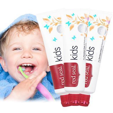 【支持購物卡】3支*新西蘭進口RED SEAL/紅印兒童可吞咽牙膏3-6-12歲換牙期 75g 香港直郵