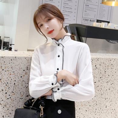 搭歌2019秋季新款韓版雪紡衫襯衫女長袖百搭優雅荷葉邊上衣 B4107