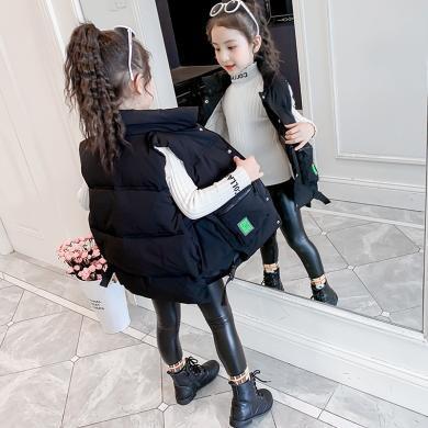 新款潮范兒童馬夾女童秋冬裝中長款外穿背心中大童加厚馬甲PWY-DXL中長款馬甲