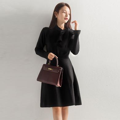 meyou 秋季新款法式气质长袖裙子收腰修身打底针织连衣裙女