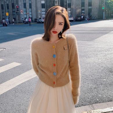 meyou 長袖針織衫女秋冬新款外穿輕熟風短款毛衣開衫外套上衣