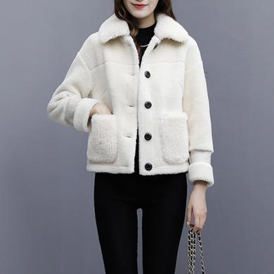 meyou 羊羔毛外套女冬季新款加絨加厚棉服皮毛一體顆粒絨棉衣短款外套