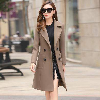 億族 冬季新款韓版時尚氣質呢子大衣中長款顯瘦收腰毛呢外套女