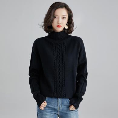 億族 秋冬新款韓版女裝高領寬松毛衣女麻花扭結長袖套頭針織衫