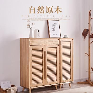 優家工匠橡木鞋柜單雙門原木實木家具全實木鞋架客廳門廳玄關隔斷柜收納儲物柜