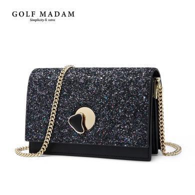 高爾夫GOLF斜挎包女時尚新款單肩包女士包包閃耀亮片女包牛皮女式包潮流百搭  B941923