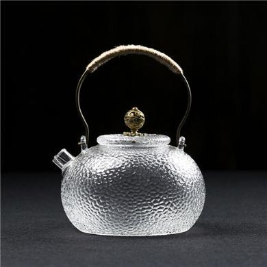 AlfunBel艾芳貝兒茶具 銅提梁日式錘紋耐熱玻璃帶過濾燒水壺煮茶壺黑茶普洱煮茶器泡茶壺-祥云款C-85-21-14