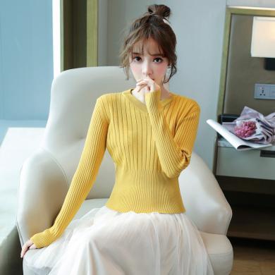 搭歌2019秋季新款韩版短款套头V领打底衫高腰修身毛衣针织衫女 B4730