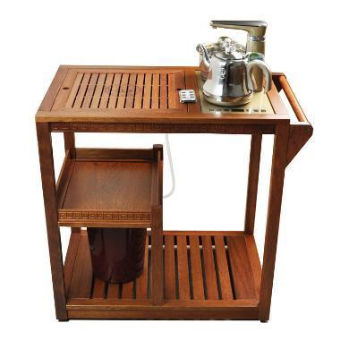 AlfunBel艾芳貝兒帶輪可移動花梨茶車茶水車茶桌套組C-80-CC-1-1(包含心好茶具H2套組)