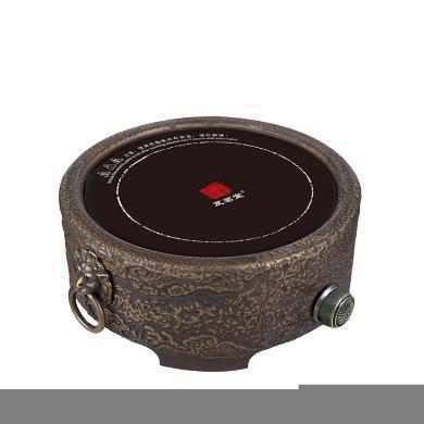 友茗堂铸铁电茶炉YL-1005铁壶电陶炉茶炉家用迷你电热炉大功率煮茶电炉智能-祥云双狮古铜色C-80-YL-1005-2