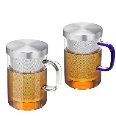 AlfunBel艾芳貝兒茶具高硼硅耐熱玻璃杯304不銹鋼內膽杯個人沖泡器花茶杯-透明琥珀組合C-85-22-96