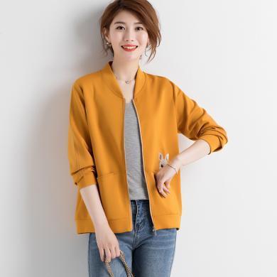 妙芙琳  2019秋季女裝新款棒球領兔子刺繡雙口袋開衫外套上衣女