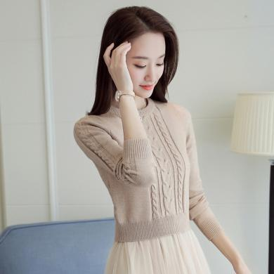 搭歌2019秋冬新款圆领长袖短款修身显瘦百搭毛衣打底针织衫女B4738