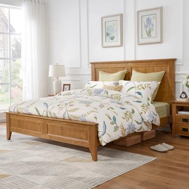 優家工匠實木家具北歐實木床白橡木1.5米1.8米主臥簡約雙人床經濟型臥室家具