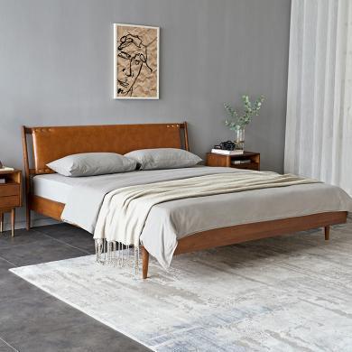 優家工匠實木家具北歐輕奢實木床現代簡約PU皮床主臥1.5米、1.8米軟靠雙人床臥室家具