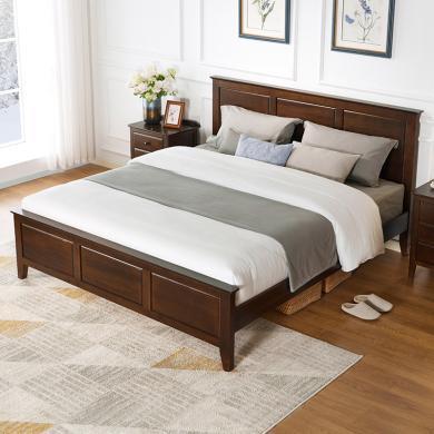 優家工匠實木家具美式實木床現代簡約1.8米雙人床1.5米主臥婚床胡桃色臥室床