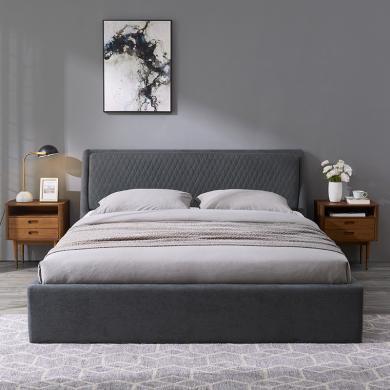 優家工匠實木家具現代簡約可拆洗布藝軟包床1.5米1.8米經濟型主臥雙人床儲物床