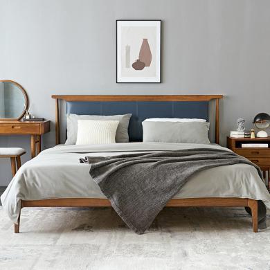 優家工匠實木家具北歐輕奢實木床1.5米1.8米布藝軟靠床雙人床現代簡約臥室家具