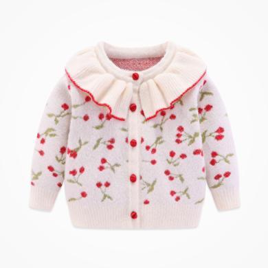 丑丑嬰幼秋冬女寶寶花邊領針織毛衣  女童新款前開毛衣