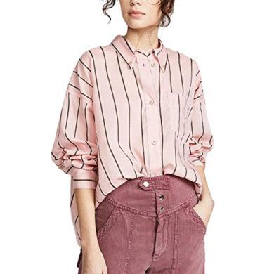 粉色甜美条纹短款衬衣女2019夏季新款时尚洋气减龄宽?#19978;允?#19978;衣潮