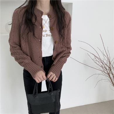 搭歌2019秋季新款复古麻花修身针织毛衣开衫短款小衫外套女B4945