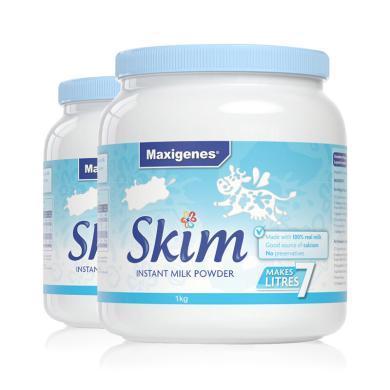 【支持購物卡】2罐*澳洲美可卓 Maxigenes成人奶粉藍胖子脫脂牛奶粉低脂沖飲早餐1kg 香港直郵