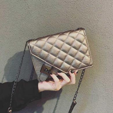 韓版小包包時尚百搭pu女包新款潮流菱格鏈條包可單肩斜挎N902