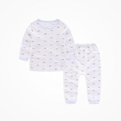 丑丑嬰幼 新款男寶寶印花圓領肩開套裝四季男童純棉長袖內衣、家居服套裝