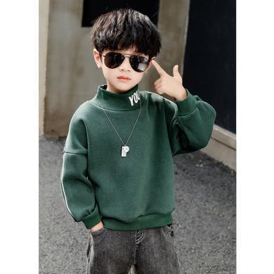 ocsco 童裝衛衣冬季新款男童加絨加厚上衣中大童打底衫領口字母印花套頭衫