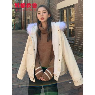 韓都衣舍2019韓版女冬裝新款短款加絨內里加厚棉衣棉服AA13782玎