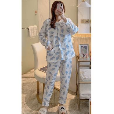 摩登孕媽 孕婦睡衣產后月子服女冬季新款加厚家居服大碼夾層哺乳套裝
