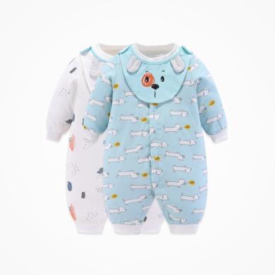 丑丑嬰幼 男寶寶加棉前開哈衣冬季男童新款可愛保暖連體衣 COD021X