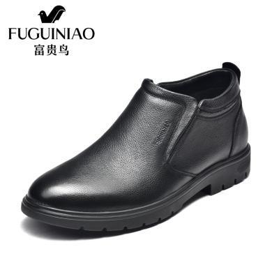 富贵鸟男鞋商务休闲高帮皮鞋男加绒保暖男靴套脚 D984053C