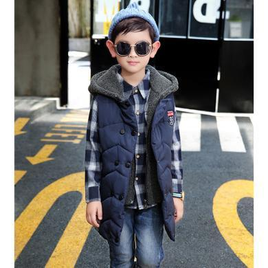 謎子 男童加厚馬甲冬季新款童裝無袖背心中大童連帽外套時尚穿搭棉服